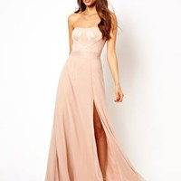 Lipsy Bandeau Maxi Dress with Glitter Bodice at asos.com