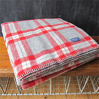 Three Potato Four - Faribault Woolen Mills Red Plaid Throw Blanket