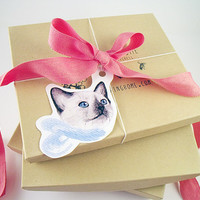 Kitten Gift Tags Set of 8 Tags by BurrowingHome on Etsy