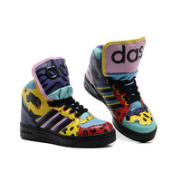 Men's Adidas Originals Jeremy Scott Instinct Hi Shoes - Black Sharp Purple [JS-A119] :