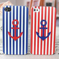 lulula-fashion shopping mall — [gryxh310004907]Red blue stripes navy lovers cases for iphone 4/4s