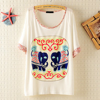Little Flowers Sleeves &Neck Elephant Loose T-shirt