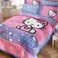 Hello Kitty Smile Girls Pink Comforter Bedding Set Full 8pcs
