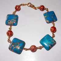 Turquoise and Gold Marbled Bracelet