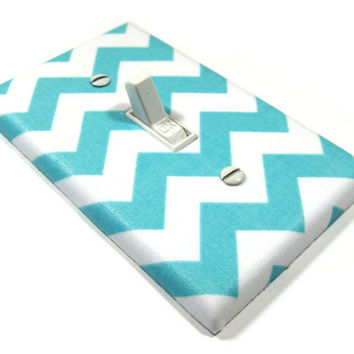 White and Sky Blue Chevron Blake Light Switch by ModernSwitch