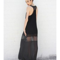 Black Chiffon Cut Out Maxi Dress