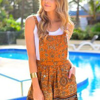 Orange Lightweight Printed Overalls with Side Pockets