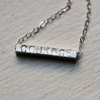 $38.00 Personalized Courage necklace hand stamped modern by metalicious