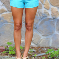 Fit For The Occasion Shorts: Turquoise | Hope's