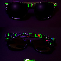 Fluorescent Sunglasses - Wayfarer Pacman sunglasses unique hand painted Pac-man neon UV glow in the dark green