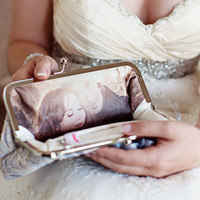 $22.00 Personalize your Bridal Clutch Bag with a Photo Lining by ANGEEW