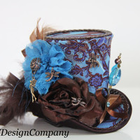 RESERVED FOR  SHANN0N Brown Teal Mini Top Hat,Steampunk Hat, Alice In Wonderland, Mad Hatter Hat Dragonfly And Fairy Charms Stickpin