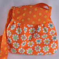 The Maddie Bag in Orange and floral by GoGreenWithRed on Etsy