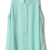 Pearly Cut Out Shoulder Shirt in Mint Green
