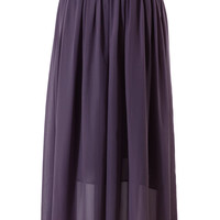 Purple Pleated Maxi Skirt