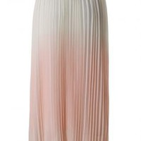 Pastel Pink Ombre Dip Dyed Maxi Skirt with Pleat Detail
