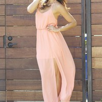 Chiffon Maxi Dress - Peach