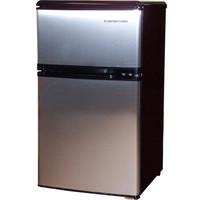 Stainless Steel Compact Refrigerator & Top Freezer, Mini Dorm Fridge w/ Ice Tray