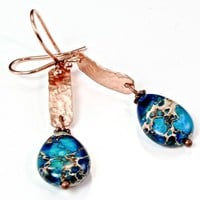 Aqua Terra Jasper and Hammered Copper Earrings