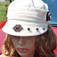 Women's Summer Cap-White Newsboy Cap-Front Pleated Cotton Cap-Vintage Jewelry Hand Embellished By Me