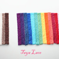 "Lace Headbands Elastic Lace Headband ""The TAYA Lace"" Hand Dyed 1 inch wide Stretch Lace Infant Little Girls Newborn"