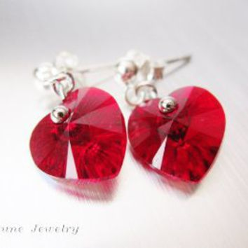 Amazon.com: Love Heart Passion Garnet Red 10mm Swarovski Element 925 Sterling Silver Stud Earring - Fortune Jewelry Crystals: Office Products