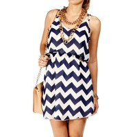 Navy/White Chevron 2 Strap Dress