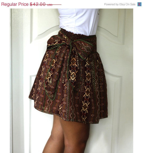 ON SALE Dark Brown Mini Skirt Royal Luxury and Gold by LoNaDesign