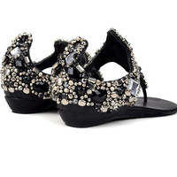 Glitter Jeweled Low-heeled Sandals