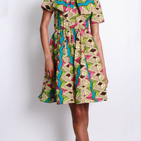 NEW The Minnie Bell- African Print  100% Holland Wax Cotton Dress