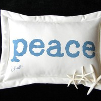 PEACE pillow painted lumbar blue white indoor by crabbychris