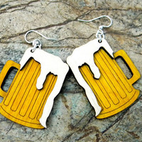 Beer Mug Earrings Wood by GreenTreeJewelry on Etsy