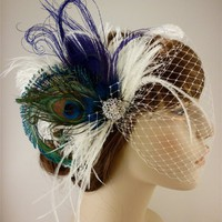 Fancy Peacock - Feather Bridal Fascinator- (2 Items) Peacock, Ostr...... | couturedesignsbyicegreeneyes - Wedding on ArtFire