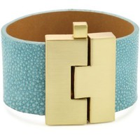 Leighelena Jigsaw Turquoise-Color Wide Bracelet - designer shoes, handbags, jewelry, watches, and fashion accessories | endless.com