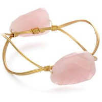 Susan Hanover Designs Stones Rock New Edition Rose Quartz Stone Bangle Bracelet - designer shoes, handbags, jewelry, watches, and fashion accessories | endless.com