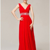 Simple Cheap V-neck Red Chiffon Evening Dress