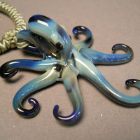 Art Glass hand blown Black Pearl Octopus Pendant by Glassnfire