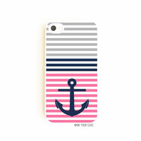 iPhone 4 Case  Nautical Stripe Anchor Pink by onyourcasestore