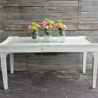 Shabby Chic White / Ivory Distressed Coffee Table in Chalk Paint