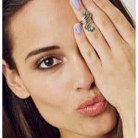 Sunahara Turquoise Double Wave Mid Knuckle Ring