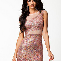 Sequin Mesh Detail Dress, Club L