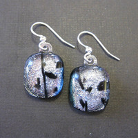 Dichroic Silver Earings, Dangly Earrings, Hypoallergenic Jewelry, Evening Jewelry - Monroe - 1569 -2