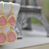 Pink Gemstone Matte Gold Earrings, Dangle French Hook Framed Synthetic Gemstone, Bridesmaid Wedding Earrings