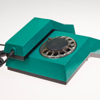 Vintage Strange Rotary Phone. USSR made Turquoise analog phone. Beautiful Soviet Design.