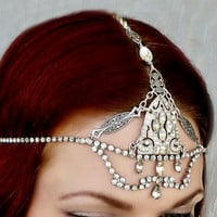 Great Gatsby Art Deco Rhinestone Headpiece - Bridal Headdress - 1920s Head Piece