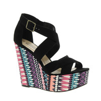 New Look Tex Printed Wedge Heeled Sandals