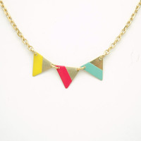 Minimalist Geometric Small Lined Triangles Bunting Necklace - Mint Green, Coral Pink, Yellow Hand Painted Modern Raw Brass Jewelry