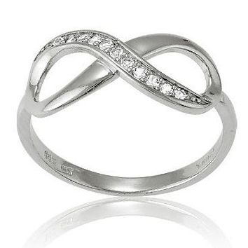 Sterling Silver White Topaz Infinity Figure 8 Ring