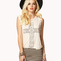 Studded Geo Cross Muscle Tee