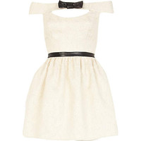 Cream jacquard Lashes of London dress
